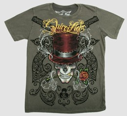 Shiroi Neko Mens t -shirt- Skull with Hat and Gun